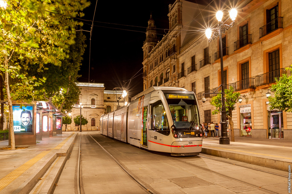 1. Севильский трамвай (Sevilla T1 Metrocentro). Plaza Nueva.