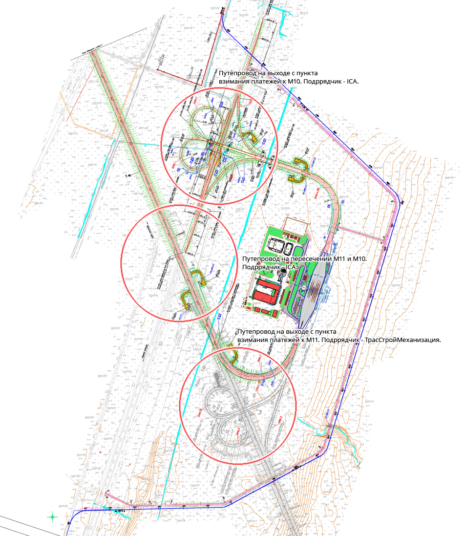 4. Три путепровода на схеме развязки.
