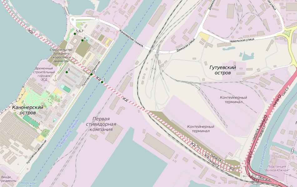 8. Карта с отмеченными местами съемки.