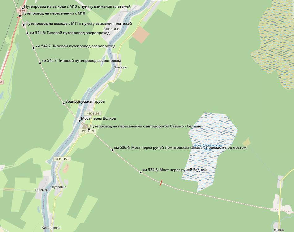 Осмотренный участок М11.