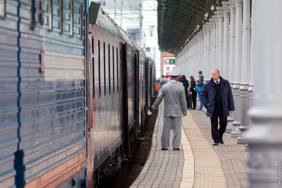 Белорусский вокзал. Поезд подали на посадку.