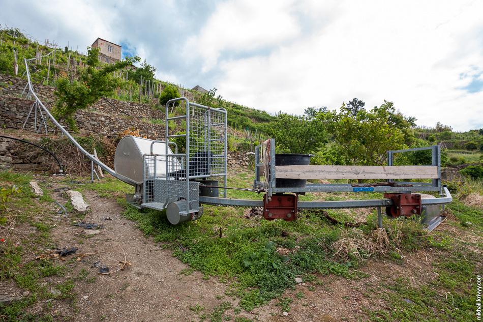 """Рельсовая система для транспортировки винограда. Это не """"колхоз"""", а вполне себе коммерческий продукт."""