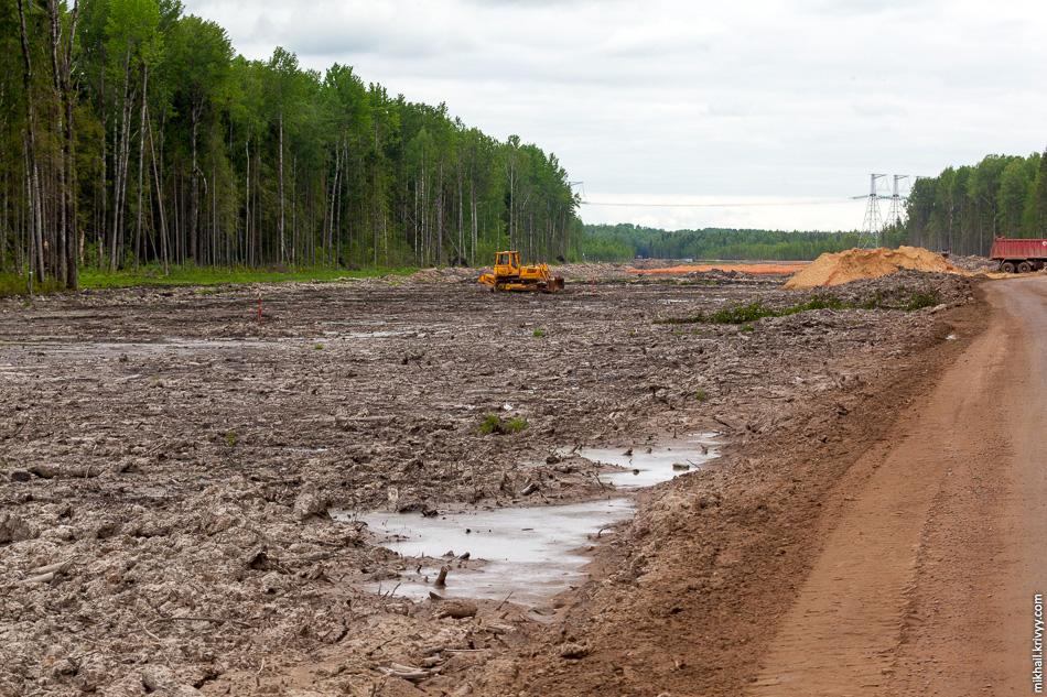Км 568, вид в сторону Москвы. Вдалеке виднеется ЛЭП 750 кВ. Это все еще ярко выраженный остров в районе урочища Ольховка.