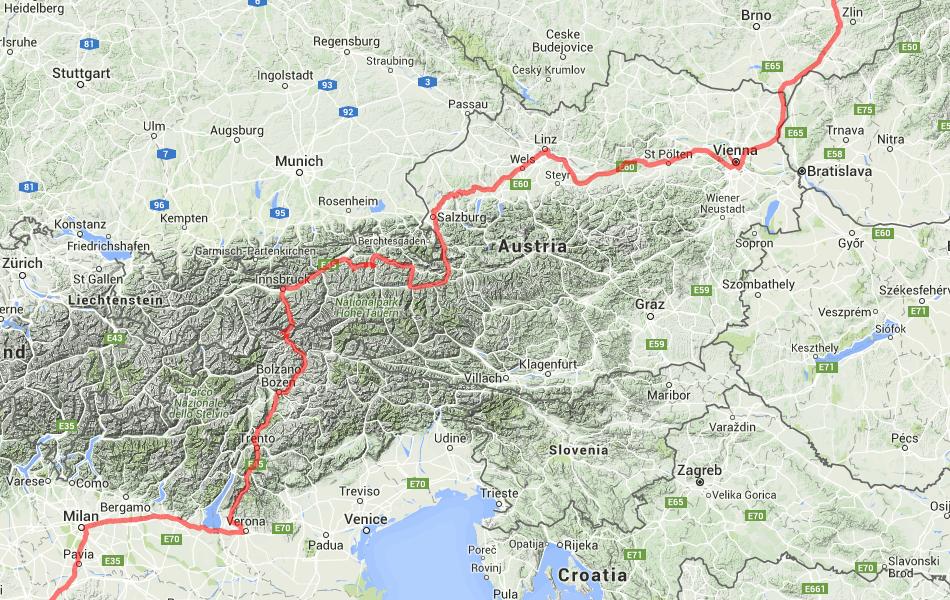 Маршрут поезд №17 Москва - Ницца по территории Австрии.