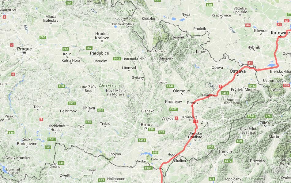Маршрут поезд №17 Москва - Ницца по территории Чехии.