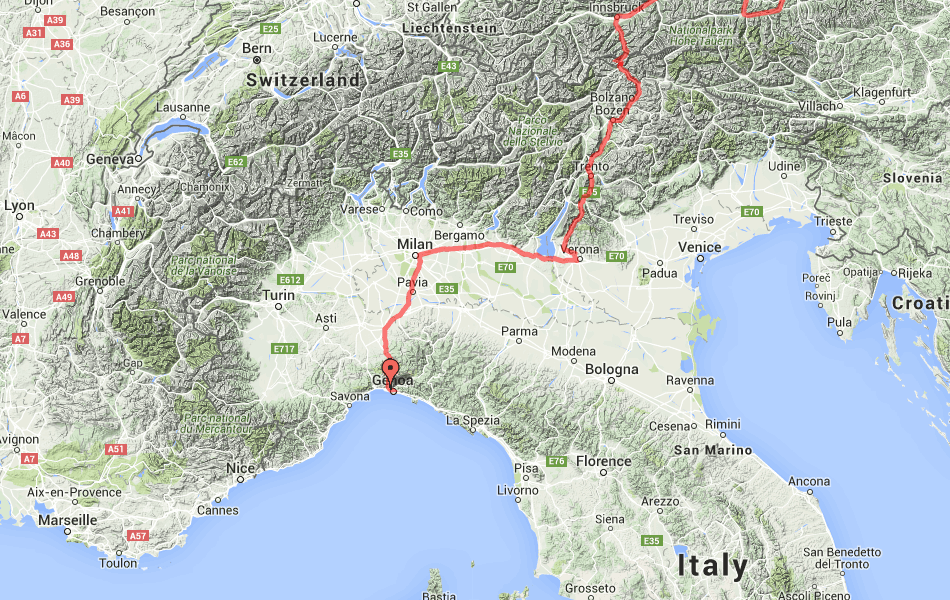 Маршрут поезд №17 Москва - Ницца по территории Италии.