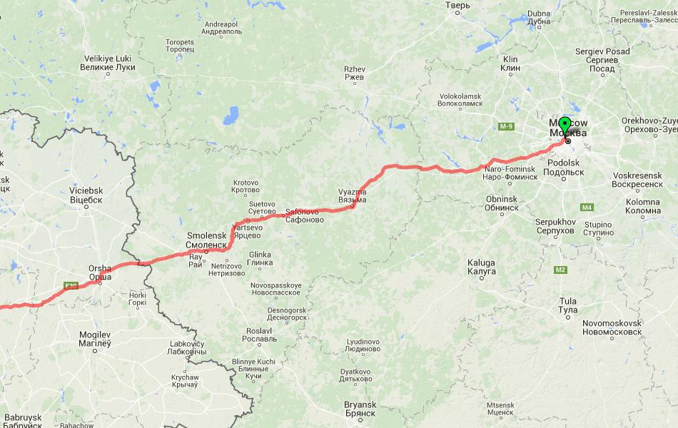 Маршрут поезд №17 Москва - Ницца по территории России.