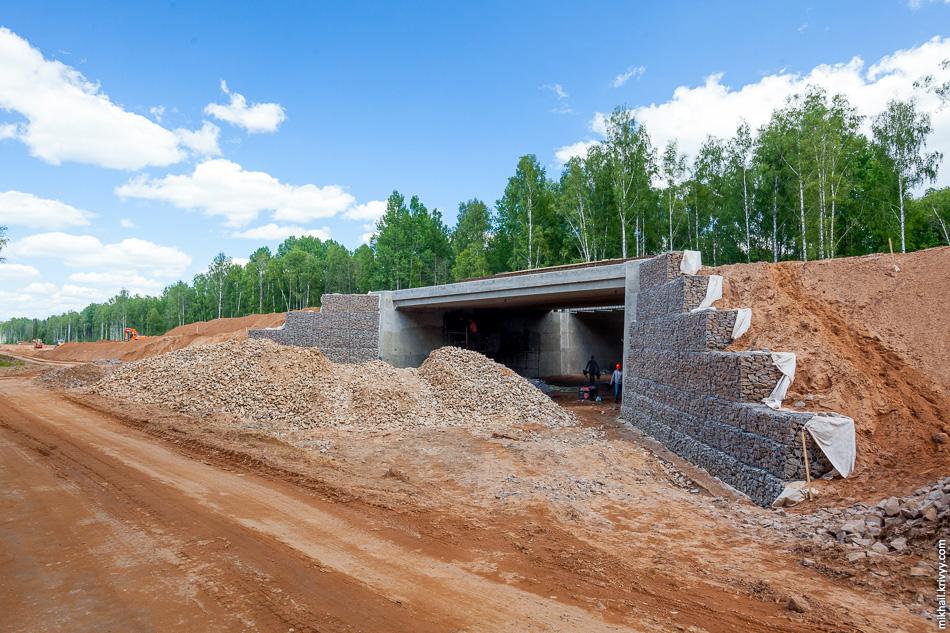 На участке от Мясного Бора до моста через Волхов активно ведутся работы по отсыпке проезжей части и насыпей. Еще полтора месяца назад этот типовой зверопроход на 544 км выглядел вот так.