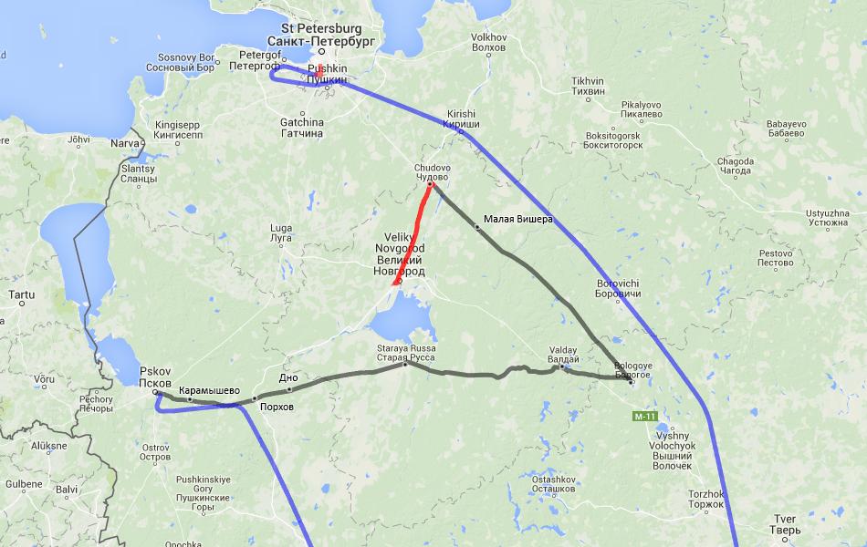 Вот такой непростой маршрут до Пскова вышел в итоге.