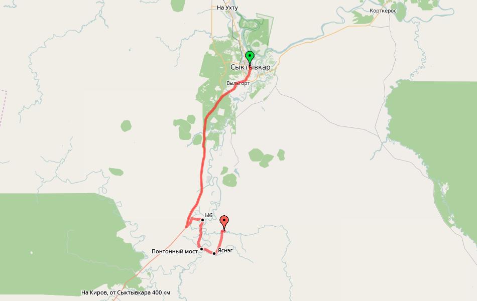 Схема поездки в Лес. Расстояние около 70 км. От «Вятки» отъехали совсем недалеко.