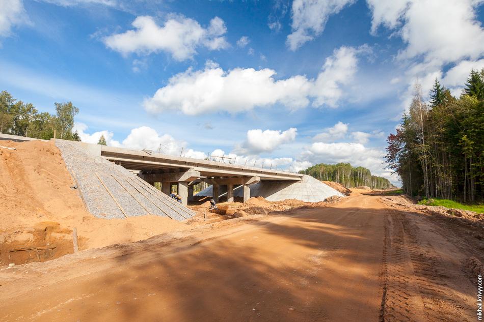 15. Строительство моста через Лопатинский ручей на 572 км. Как и везде, это многофункциональный переход — для воды, лесозаготовительной техники и диких животных. Никаких грунтовых и лесовозных дорог в районе путепровода нет.