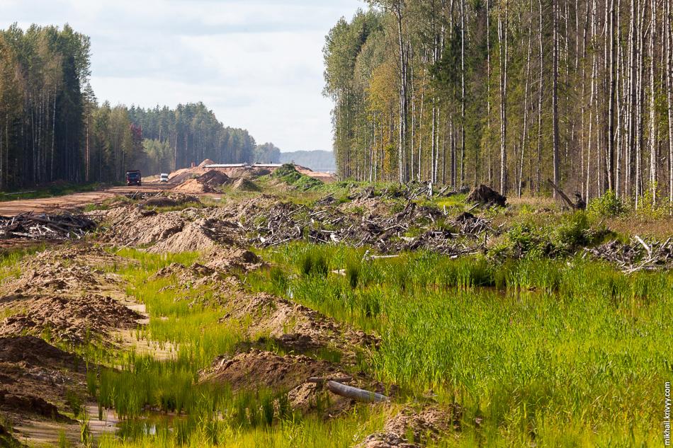 16. Вид в сторону Санкт-Петербурга. На заднем плане путепровод через Лопатниский ручей. Все ручьи сейчас активны, на временных дорогах и других сооружениях установлены водопропускные трубы.