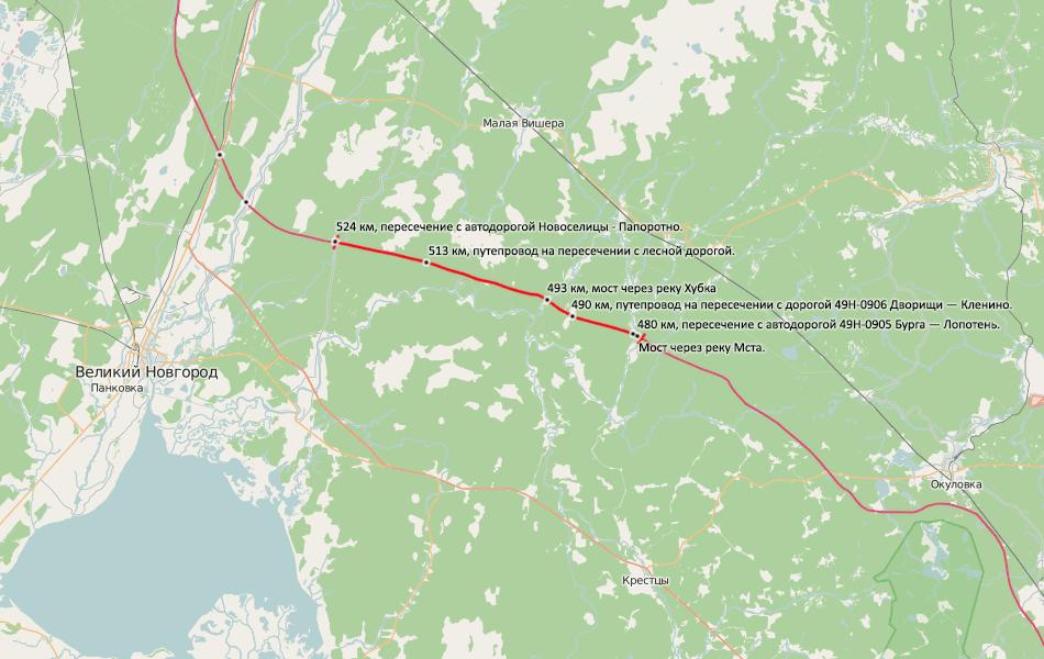 8bis. Рассмотренный участок автомагистрали выделен красным цветом. Подписаны основные искусственные сооружения, всего их около 20.
