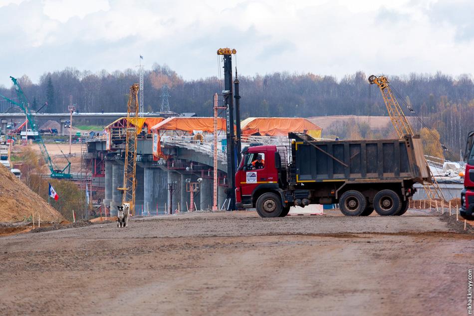 Начинается спуск к реке Волхов. Здесь строится самый большой мост на всей автомагистрали М11.