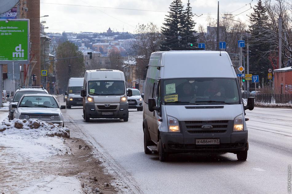 При этом большие автобусы обслуживают в основном пригороды. Маршрутки разные — Mercedes Sprinter, Iveco Daily, ГАЗель NEXT Citiline и т.п.