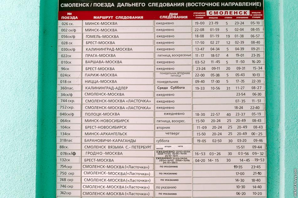 Расписание поездов в сторону Москвы.