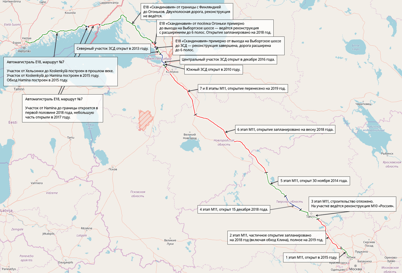 Текущее состояние, изменения и планы по реконструкции и строительству на маршруте Москва — Хельсинки.